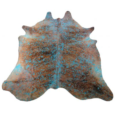 Turquoise Cowhide Rug Size: 8 1/4' X 6 1/2' Turquoise Acid Washed on Brindle Rug P-060