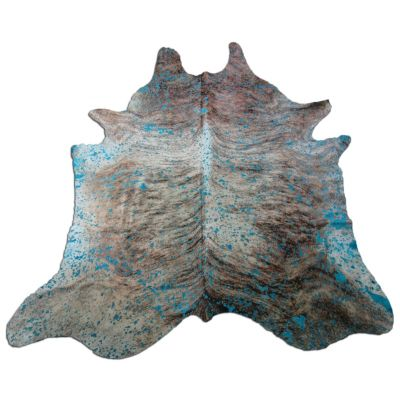 Turquoise Cowhide Rug Size: 9' X 7 1/4' Turquoise Acid Washed on Brindle Rug P-062