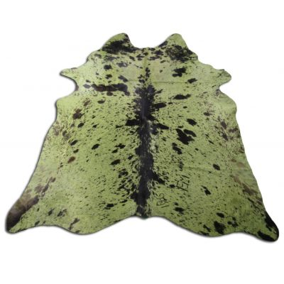 Lime Green Cowhide Rug Size: 8' X 7' Dyed Green Salt & Pepper Cowhide Rug P-077
