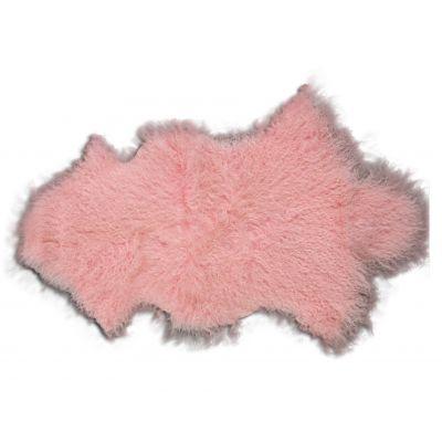 Pink Mongolian Sheep Skin Rug - Size: ~ 38 X 22 inches Tibetan Lamb