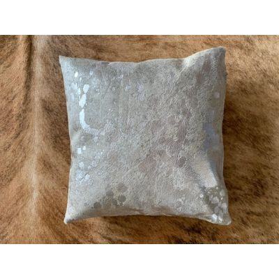 Silver Acid Washed Cowhide Pillow Cover - Square - Size: 16 in x 16 in