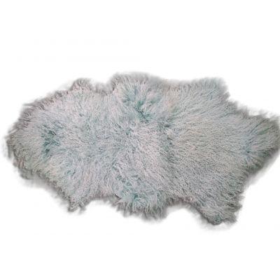 Turquoise Mongolian Sheep Skin Rug - Size: ~ 38 X 22 inches Tibetan Lamb