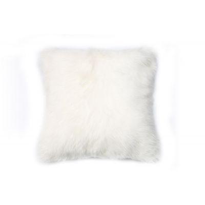 "Mongolian Goat Pillow Cover - Size: 15"" X 15"" - Tibetan Lamb White Pillow Cover"