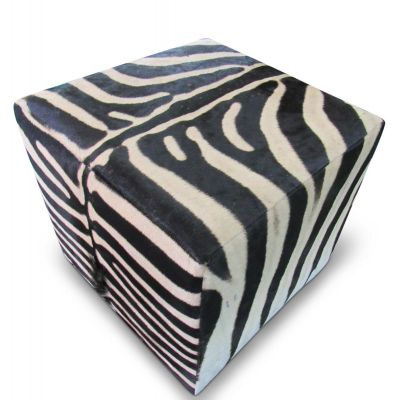 "Real Zebra Ottoman Cube 19 H X 20 X 20"" Zebra Skin Hair-on Ottoman"