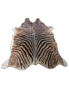 Zebra Cowhide Rug Genuine Zebra Print Cow Hide Rugs Black Stripes and Dark Brown Inner Stripes Size ~7.5' X 6'