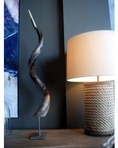 Polished Kudu Outer Horn on Metal Stand- African Antelope Polished Horn Stand